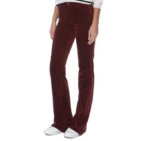 J Brand Ox Blood Maria Flare High Rise Velvet Jeans