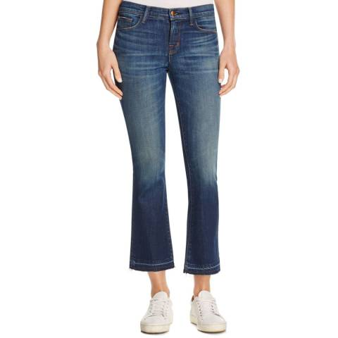 J Brand Washed Blue Selena Crop Boot Cut Cotton Blend Jeans