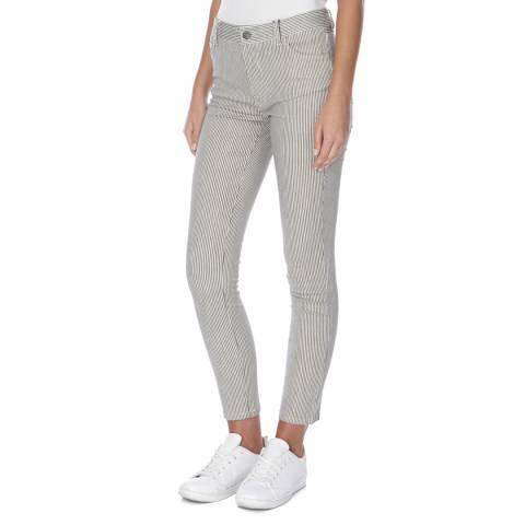 J Brand Navy/Cream Stripe 811 Mid Rise Skinny Cotton Stretch Jeans