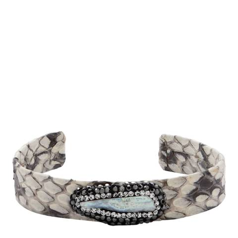 White label by Liv Oliver White and Black Snakeskin Leather Crystal Cuff Bracelet