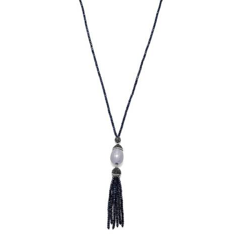 White label by Liv Oliver Blue Onyx Crystal and Pearl Tassel Necklace
