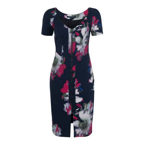 French Connection Navy Blue Wilderness Bloom V Neck Dress