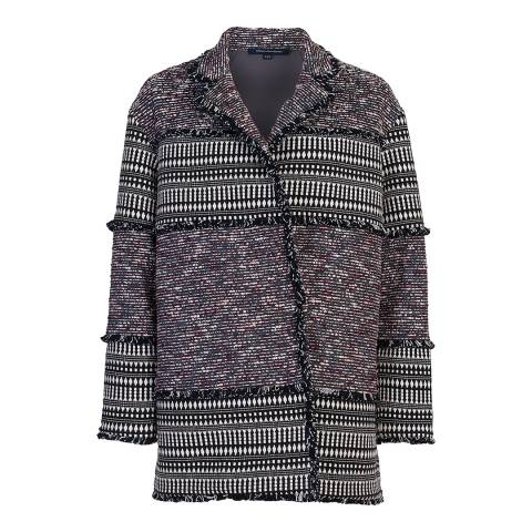 French Connection Black Pixel Mix Cotton Coat