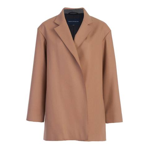 French Connection Indian Tan Platform Felt Wool and Cashmere Blend Coat