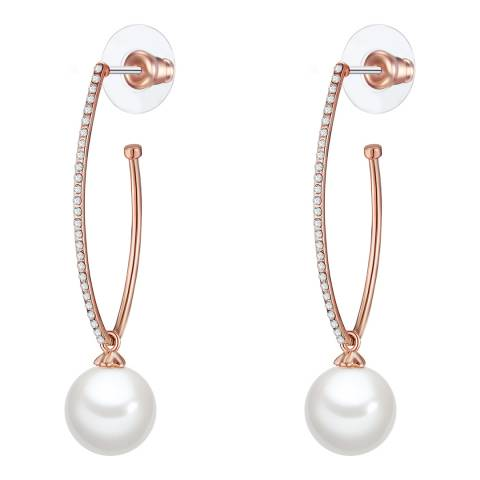 Pearls of London White/Rose Gold Pearl Hoop Earrings