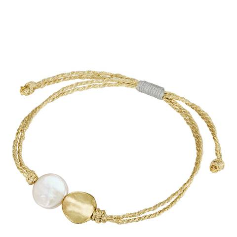 Pearls of London White/Gold Pearl Bracelet