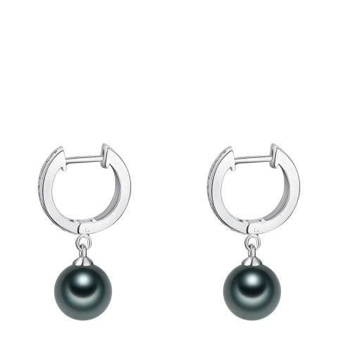 Pearls of London Black/Silver Pearl Hoop Earrings