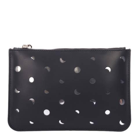 Mademoiselle Odette Black Leather Spotted Clutch Bag