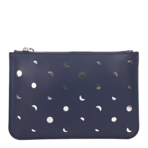 Mademoiselle Odette Blue Leather Spotted Clutch Bag