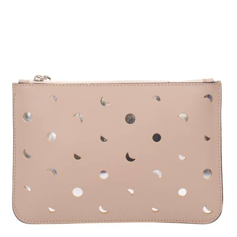 Mademoiselle Odette Dusty Pink Leather Spotted Clutch Bag