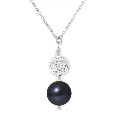 Mitzuko White Pearl Crystal Silver Necklace