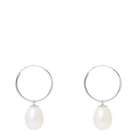 Mitzuko White Pearl Hoop Earrings