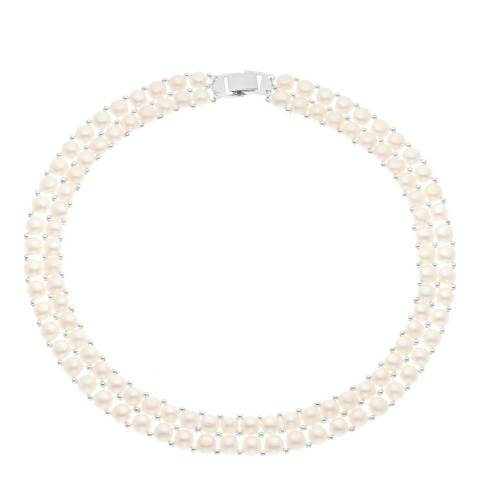 Pearline White Double Pearl Necklace