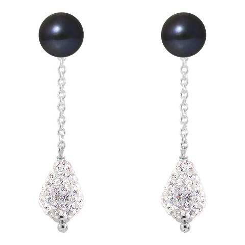 Mitzuko Black Pearl and Crystal Earrings