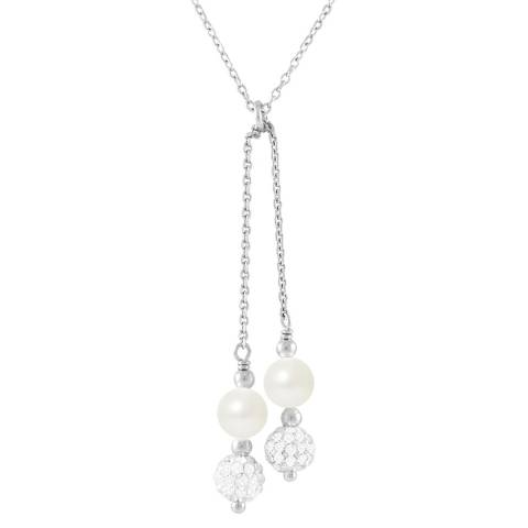 Mitzuko Duo White Pearl Crystal Drop Necklace