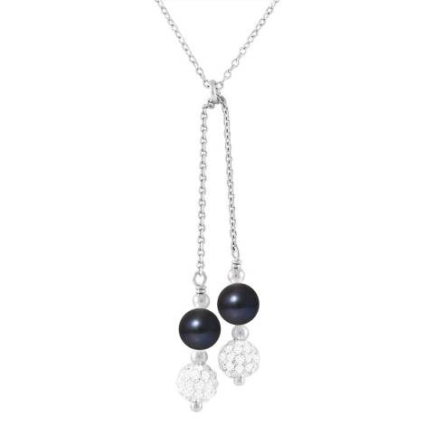Pearline Duo Black Pearl Crystal Drop Necklace