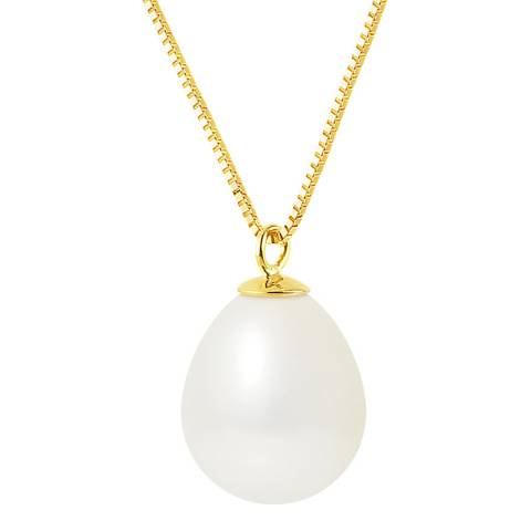 Mitzuko Yellow Gold White Pearl Necklace
