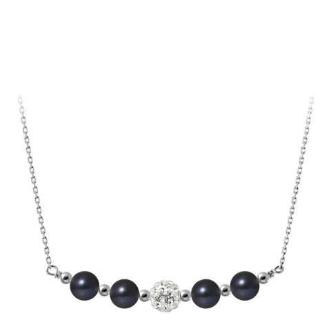 Mitzuko Black 4 Pearl Crystal Silver Necklace