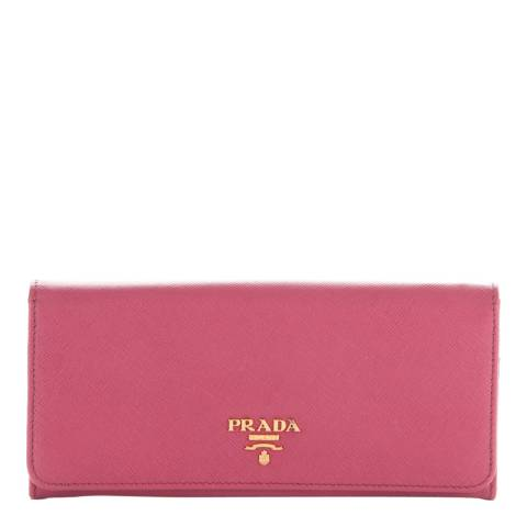 Prada Pink Leather Saffiano Flap Wallet
