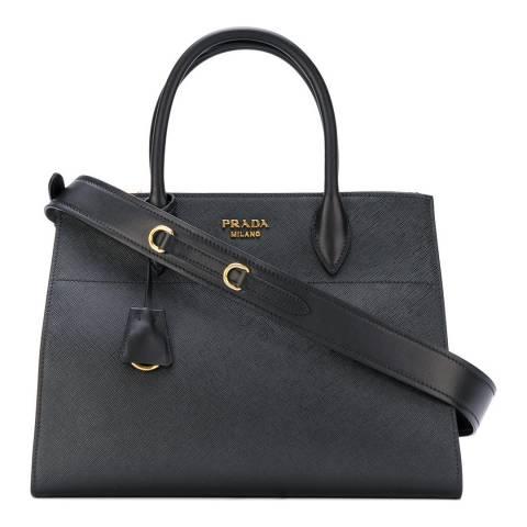 Prada Black Leather Medium Bibliotheque Tote Bag