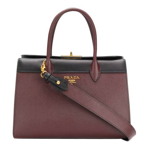 Prada Burgundy Leather And Black Saffiano Tote bag