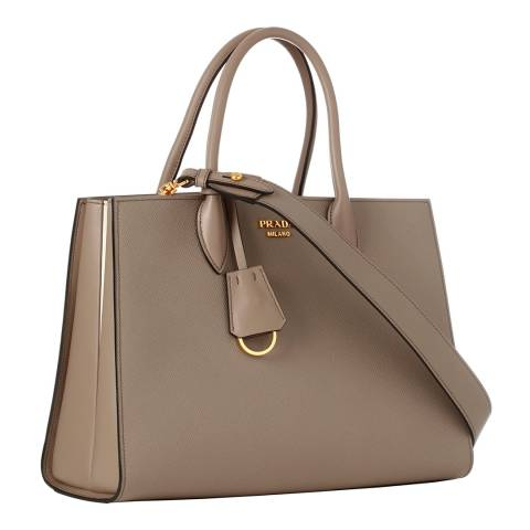 Prada Grey Medium Bibliotheque Leather Handbag