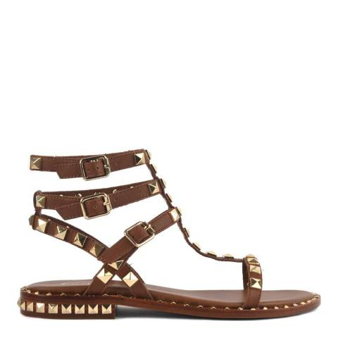 ASH Tan Brown Leather Studded Poison Sandals