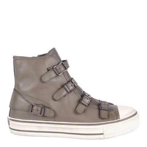 ASH Perkish Grey Leather Virgin Buckle Sneakers