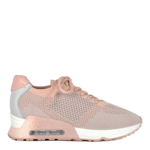 ASH Nude Pink And Pearl Grey Knit Lucky Sneakers
