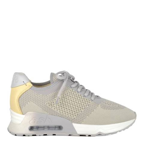 ASH Pearl Grey And Yellow Knit Lucky Sneakers