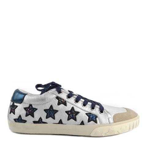 ASH Silver And Navy Leather Majestic Star Motif Sneakers