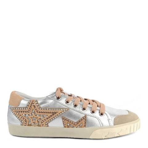 ASH Silver Leather & Beige Pony Hair Magic Star Motif Sneakers