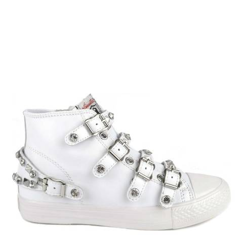 ASH White Leather Studded Victoria Buckle Sneakers