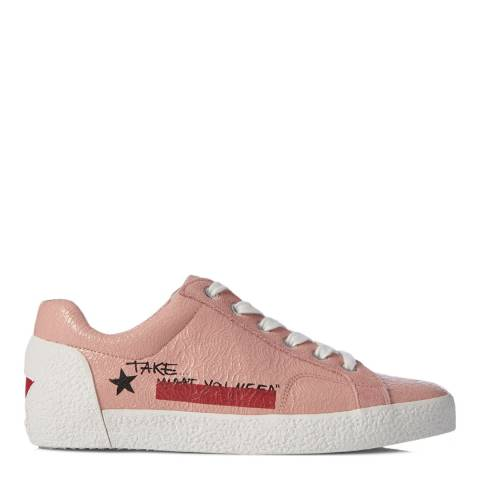ASH Blush Pink Cracked Leather Neck Sneakers