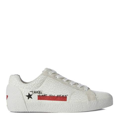 ASH White Cracked Leather Neck Sneakers