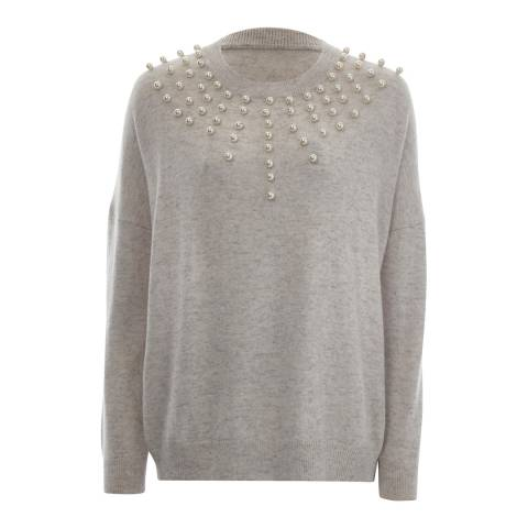 Scott & Scott London Light Grey Embellished Cashmere Jumper