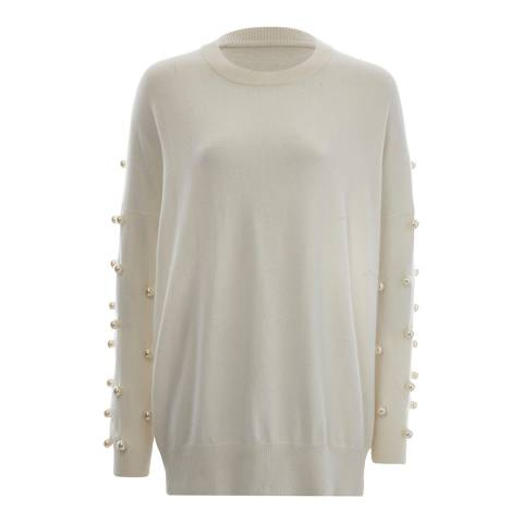 Scott & Scott London White All Over Arm Pearl Cashmere Jumper
