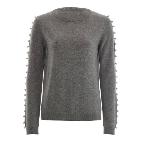 Scott & Scott London Grey Stripe Arm Pearl Cashmere Jumper