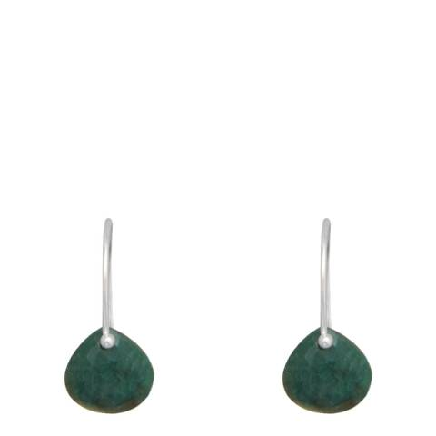 Alexa by Liv Oliver Sterling Silver Emerald Pear Drop Earrings
