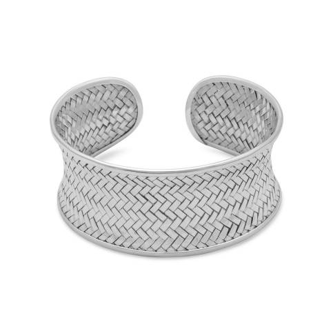 Alexa by Liv Oliver Silver Sterling Silver Concave Cuff Bracelet With Weave Design