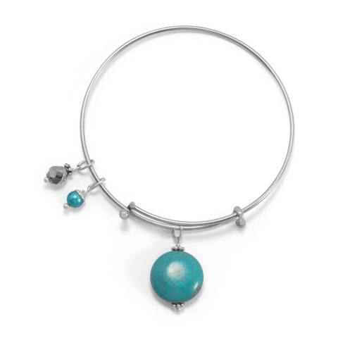 Alexa by Liv Oliver Turquoise/Silver Silver and Turquoise Charm Bangle