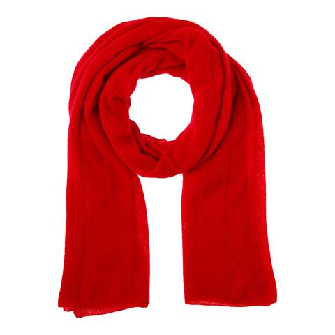Country Cashmere By Scott and Scott Red Cashmere Knit Scarf