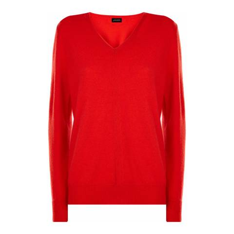 Jaeger Red Trim V Neckline Wool Cashmere Blend Jumper