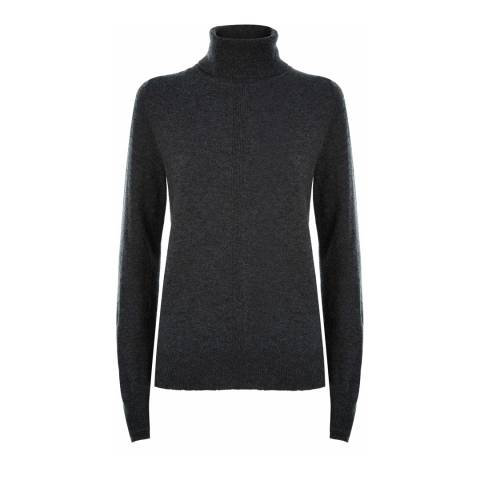Jaeger Charcoal Double Trim Roll Neck Wool Cashmere Blend Jumper
