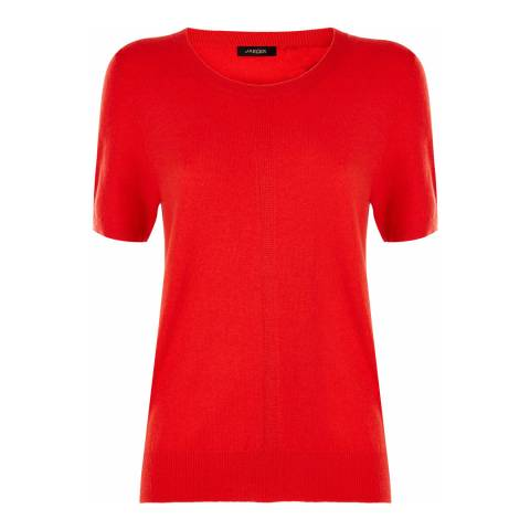 Jaeger Red Wool Cashmere Short Sleeve Top