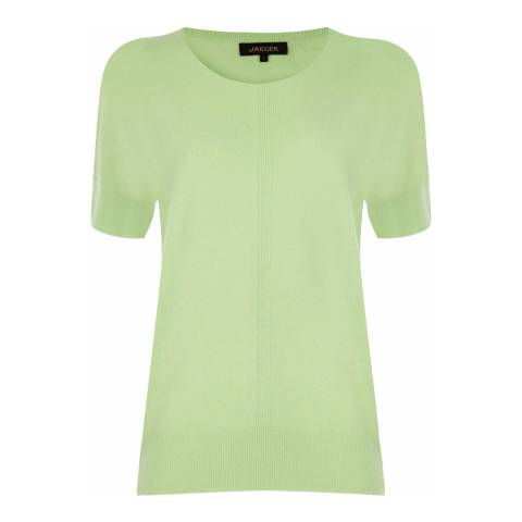 Jaeger Lime Slouchy Wool Cashmere T Shirt