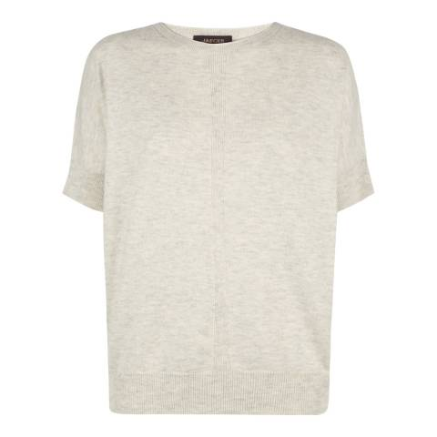 Jaeger Light Grey Slouchy Wool Cashmere T Shirt