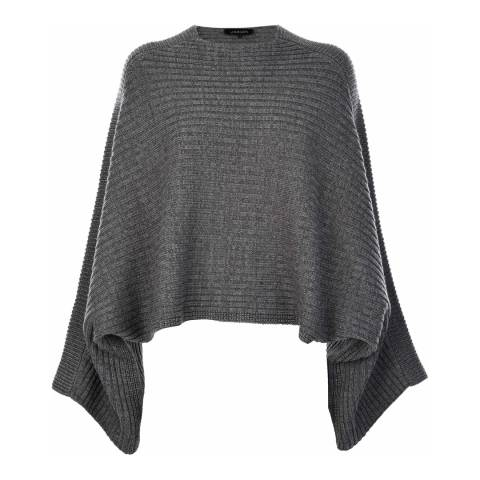 Jaeger Grey Marl Wool/Cashmere Blend Cape Sweater