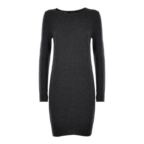 Jaeger Charcoal Wool Crew Neck Dress