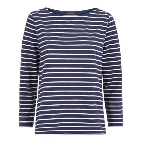 Jaeger Navy/Cream Breton Stripe Cotton Blend Jersey Top
